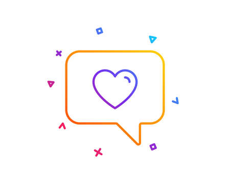 Heart in Speech bubble line icon. Love chat symbol. Valentines day communication sign. Gradient line button. Love message icon design. Colorful geometric shapes. Vector Imagens - 113234468