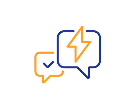 Lightning bolt line icon. Chat messages sign. Speech bubble symbol. Colorful outline concept. Blue and orange thin line color icon. Lightning bolt Vector Stock Photo