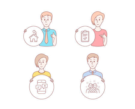 People hand drawn style. Set of Checklist, Home and Phone survey icons. Gift sign. Survey, House building, Mobile quiz test. Present.  Character hold circle button. Man with like hand. Vector Stockfoto - 113234489