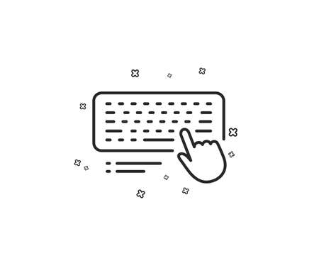 Keyboard line icon. Computer component device sign. Geometric shapes. Random cross elements. Linear Computer keyboard icon design. Vector
