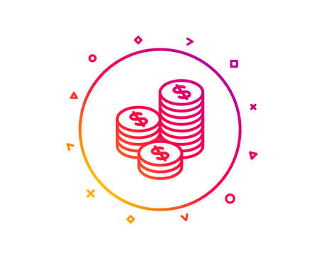 Coins money line icon. Banking currency sign. Cash symbol. Gradient pattern line button. Coins icon design. Geometric shapes. Vector Stock Photo