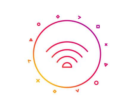 Wifi line icon. Wi-fi internet sign. Wireless network symbol. Gradient pattern line button. Wifi icon design. Geometric shapes. Vector