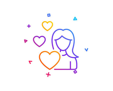 Woman in Love line icon. Heart sign. Valentines day symbol. Gradient line button. Love icon design. Colorful geometric shapes. Vector