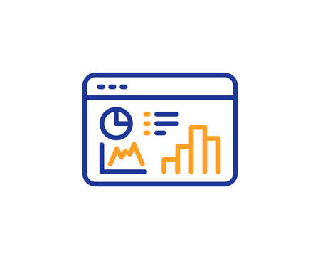 Seo statistics line icon. Search engine optimization sign. Analytics chart symbol. Colorful outline concept. Blue and orange thin line color Seo statistics icon. Vector