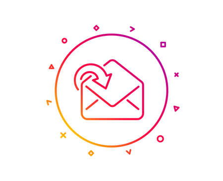 Receive Mail download line icon. Incoming Messages correspondence sign. E-mail symbol. Gradient pattern line button. Receive Mail icon design. Geometric shapes. Vector