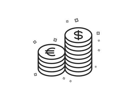 Coins money line icon. Banking currency sign. Euro and Dollar Cash symbols. Geometric shapes. Random cross elements. Linear Currency icon design. Vector