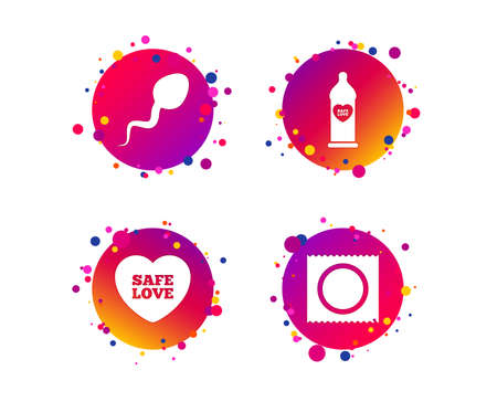 Safe sex love icons. Condom in package symbol. Sperm sign. Fertilization or insemination. Gradient circle buttons with icons. Random dots design. Vector
