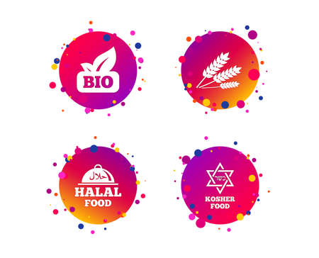 Natural Bio food icons. Halal and Kosher signs. Gluten free and star of David symbols. Gradient circle buttons with icons. Random dots design. Vector 写真素材
