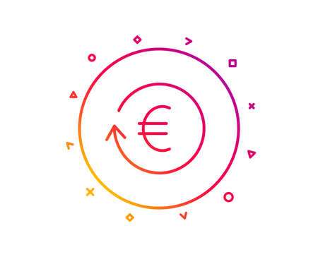 Euro Money exchange line icon. Banking currency sign. EUR Cash symbol. Gradient pattern line button. Exchange currency icon design. Geometric shapes. Vector Stock Photo