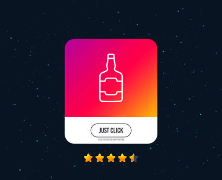 Whiskey bottle line icon. Scotch alcohol sign. Web or internet line icon design. Rating stars. Just click button. Vector Фото со стока
