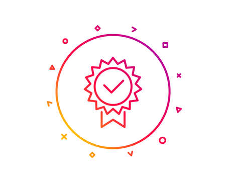Certificate line icon. Verified award sign. Accepted or confirmed symbol. Gradient pattern line button. Certificate icon design. Geometric shapes. Vector Stock Photo