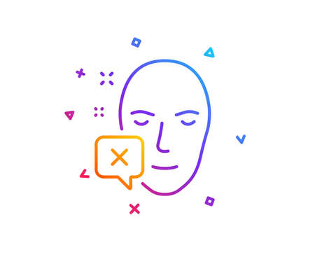 Face declined line icon. Human profile sign. Facial identification error symbol. Gradient line button. Face declined icon design. Colorful geometric shapes. Vector Banco de Imagens