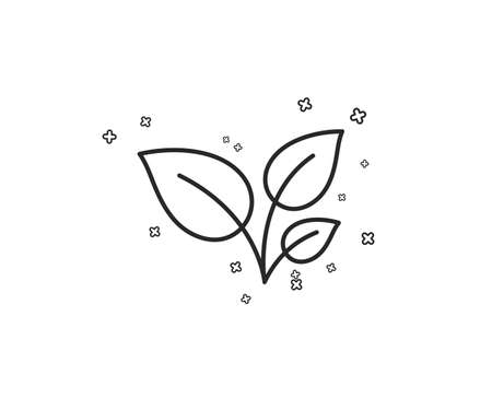 Leaves line icon. Grow plant leaf sign. Environmental care symbol. Geometric shapes. Random cross elements. Linear Leaves icon design. Vector Banque d'images - 113234592