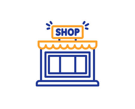 Shop line icon. Store symbol. Shopping building sign. Colorful outline concept. Blue and orange thin line color icon. Shop Vector