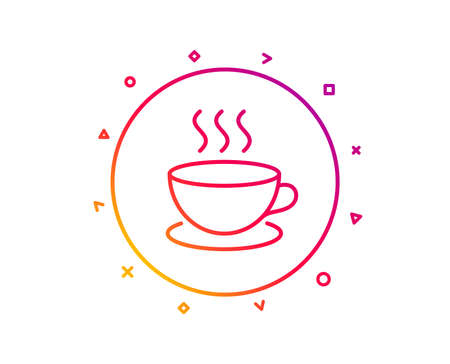 Coffee drink line icon. Hot cup sign. Fresh beverage symbol. Gradient pattern line button. Cappuccino icon design. Geometric shapes. Vector