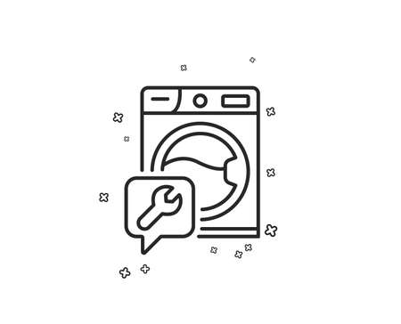 Spanner tool line icon. Washing machine repair service sign. Geometric shapes. Random cross elements. Linear Washing machine icon design. Vector