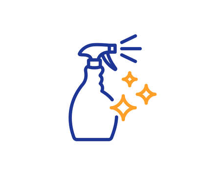 Cleaning spray line icon. Washing liquid or Cleanser symbol. Housekeeping equipment sign. Colorful outline concept. Blue and orange thin line color icon. Washing Cleanser Vector