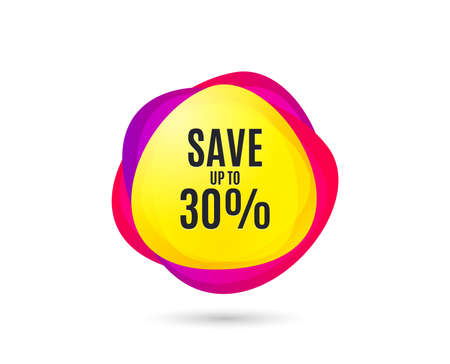 Save up to 30%. Discount Sale offer price sign. Special offer symbol. Gradient sales tag. Abstract shopping banner. Template for design. Vector