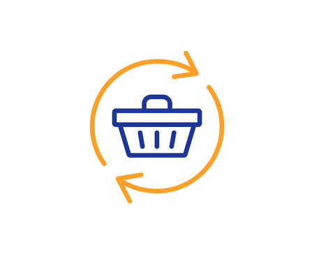 Update Shopping cart line icon. Online buying sign. Supermarket basket symbol. Colorful outline concept. Blue and orange thin line color icon. Refresh cart Vector Stock Photo