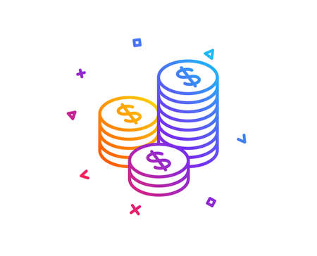 Coins money line icon. Banking currency sign. Cash symbol. Gradient line button. Coins icon design. Colorful geometric shapes. Vector