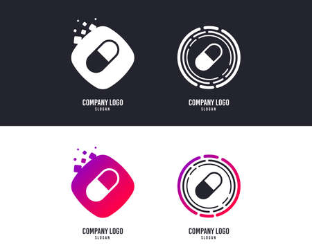 Logotype concept. Medical pill sign icon. Drugs symbol. Logo design. Colorful buttons with icons. Vector 写真素材