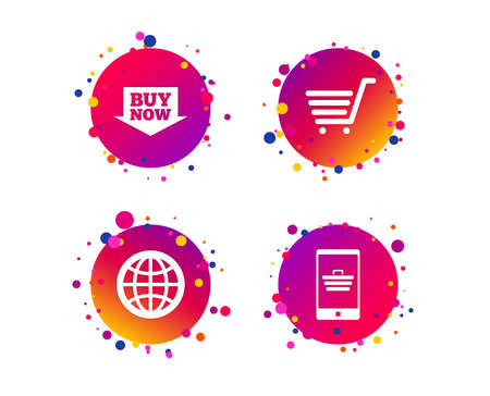 Online shopping icons. Smartphone, shopping cart, buy now arrow and internet signs. WWW globe symbol. Gradient circle buttons with icons. Random dots design. Vector Stock Photo - 113234678