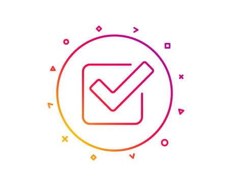 Check line icon. Approved Tick sign. Confirm, Done or Accept symbol. Gradient pattern line button. Checkbox icon design. Geometric shapes. Vector