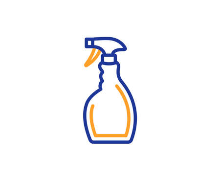 Cleaning spray line icon. Washing liquid or Cleanser symbol. Housekeeping equipment sign. Colorful outline concept. Blue and orange thin line color icon. Spray Vector 写真素材 - 113234693