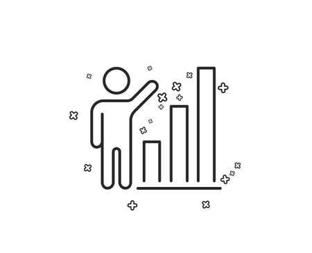 Graph line icon. Column chart sign. Growth diagram symbol. Geometric shapes. Random cross elements. Linear Graph chart icon design. Vector