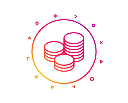 Coins money line icon. Banking currency sign. Cash symbol. Gradient pattern line button. Tips icon design. Geometric shapes. Vector Stock Photo