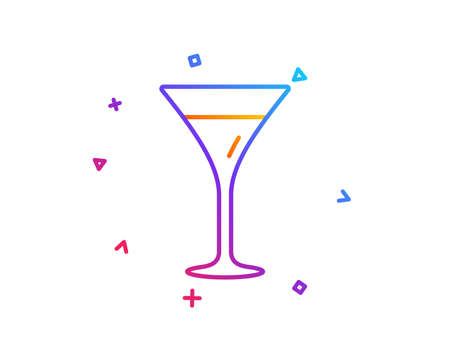 Martini glass line icon. Wine glass sign. Gradient line button. Martini glass icon design. Colorful geometric shapes. Vector
