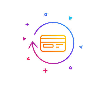 Credit card line icon. Banking Payment card sign. Cashback service symbol. Gradient line button. Refund commission icon design. Colorful geometric shapes. Vector