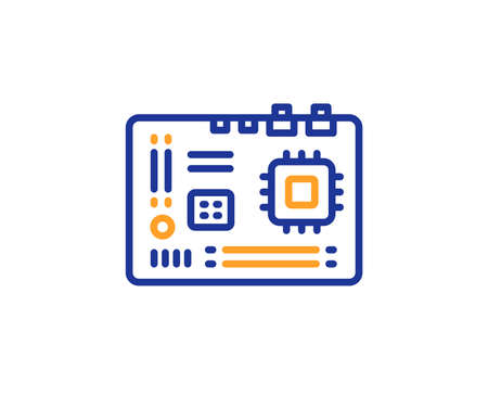 Motherboard line icon. Computer component hardware sign. Colorful outline concept. Blue and orange thin line color Motherboard icon. Vector 版權商用圖片