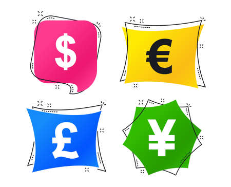 Dollar, Euro, Pound and Yen currency icons. USD, EUR, GBP and JPY money sign symbols. Geometric colorful tags. Banners with flat icons. Trendy design. Vector