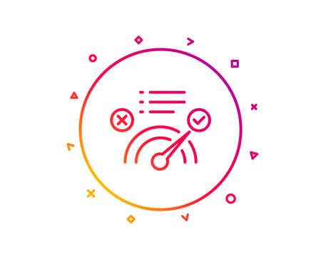 Correct answer line icon. Accepted or confirmed sign. Approved symbol. Gradient pattern line button. Correct answer icon design. Geometric shapes. Vector Stock Photo