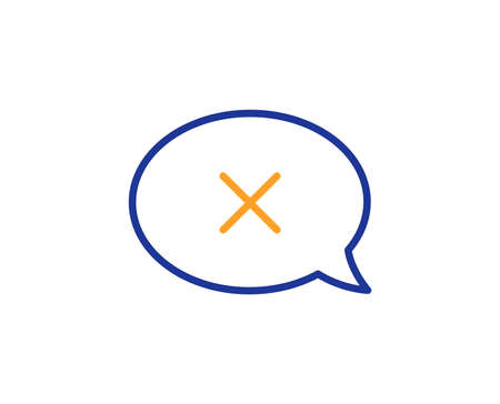Reject message line icon. Decline or remove chat sign. Colorful outline concept. Blue and orange thin line color Reject icon. Vector Stock fotó