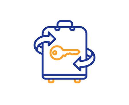 Luggage room line icon. Baggage Locker sign. Travel service symbol. Colorful outline concept. Blue and orange thin line color icon. Luggage Vector 版權商用圖片