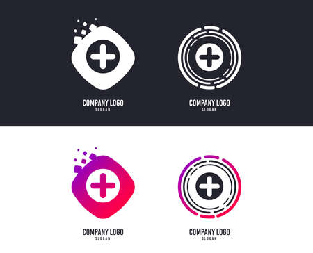 Logotype concept. Plus sign icon. Positive symbol. Zoom in. Logo design. Colorful buttons with icons. Vector Stockfoto