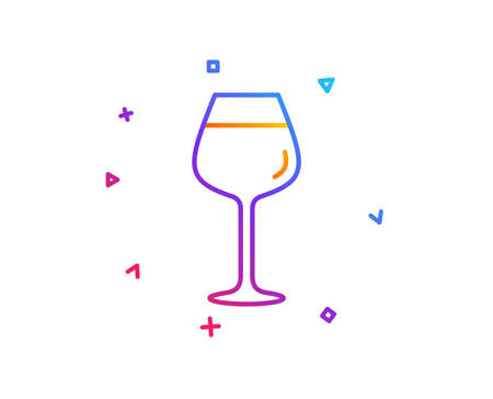 Wine glass line icon. Bordeaux glass sign. Gradient line button. Bordeaux glass icon design. Colorful geometric shapes. Vector 写真素材