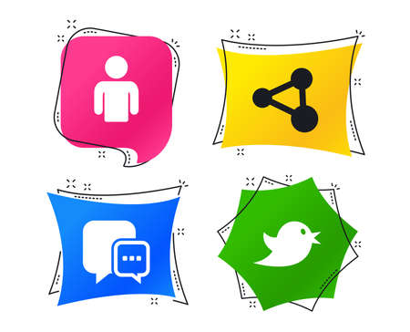 Social media icons. Chat speech bubble and Share link symbols. Bird sign. Human person profile. Geometric colorful tags. Banners with flat icons. Trendy design. Vector