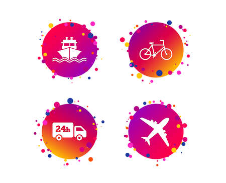 Cargo truck and shipping icons. Shipping and eco bicycle delivery signs. Transport symbols. 24h service. Gradient circle buttons with icons. Random dots design. Vector Stock Photo