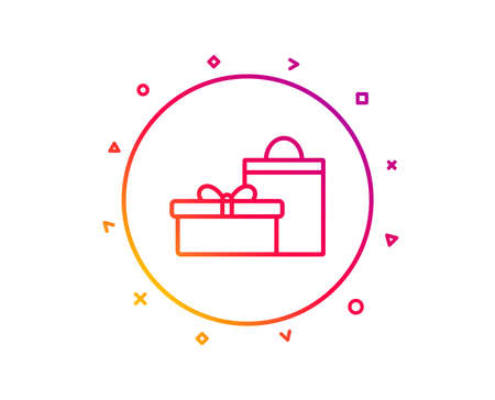 Gift box with bag line icon. Present or Sale sign. Birthday Shopping symbol. Package in Gift Wrap. Gradient pattern line button. Gifts icon design. Geometric shapes. Vector Zdjęcie Seryjne - 113234782