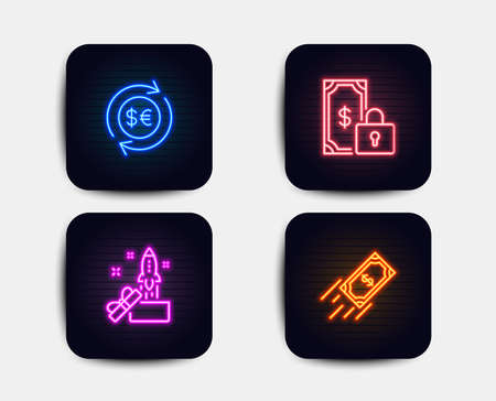 Neon set of Innovation, Money currency and Private payment icons. Fast payment sign. Crowdfunding, Cash change, Secure finance. Finance transfer. Neon icons. Glowing light banners