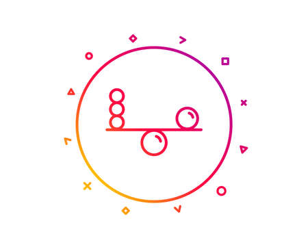 Balance line icon. Mind stability sign. Concentration symbol. Gradient pattern line button. Balance icon design. Geometric shapes. Vector