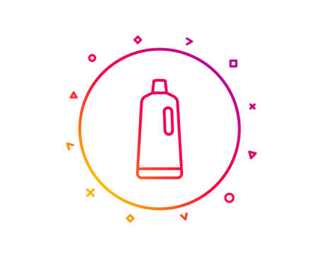 Cleaning shampoo line icon. Washing liquid or Cleanser symbol. Housekeeping equipment sign. Gradient pattern line button. Shampoo icon design. Geometric shapes. Vector 写真素材