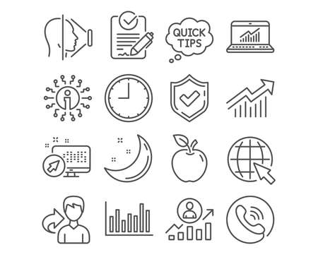 Set of Internet, Career ladder and Time icons. Face id, Online statistics and Demand curve signs. Bar diagram, Rfp and Quick tips symbols. World web, Manager results, Office clock. Vector