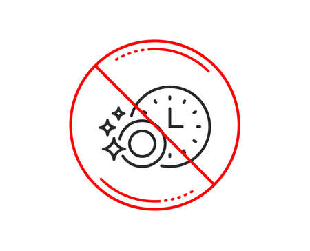 No or stop sign. Cleaning dishes with Time line icon. Dishwasher sign. Clean tableware sign. Caution prohibited ban stop symbol. No  icon design.  Vector Stock Photo