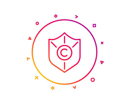 Copyright protection line icon. Copywriting sign. Shield symbol. Gradient pattern line button. Copyright protection icon design. Geometric shapes. Vector