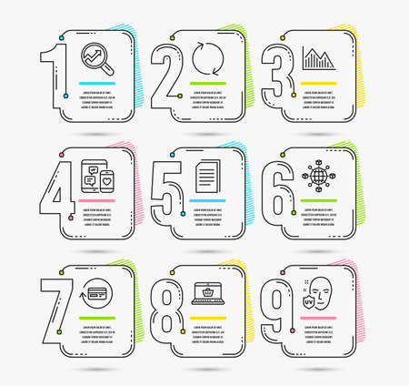 Infographic template with numbers 9 options. Set of Analytics, Refresh and Logistics network icons. Online shopping, Refund commission and Copy files signs. Vector