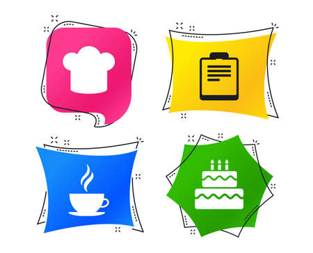 Coffee cup icon. Chef hat symbol. Birthday cake signs. Document file. Geometric colorful tags. Banners with flat icons. Trendy design. Vector Standard-Bild